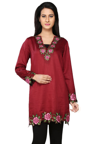 Maroon Cotton Readymade A-line Tunic by Tadpole Store