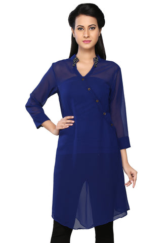 Royal Blue Faux Georgette Readymade Tunic by Tadpole Store