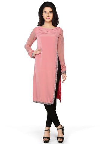 Light Pink Faux Crepe Readymade A-line Tunic by Tadpole Store