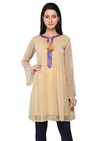 Beige Faux Georgette Readymade Flared Tunic by Tadpole Store