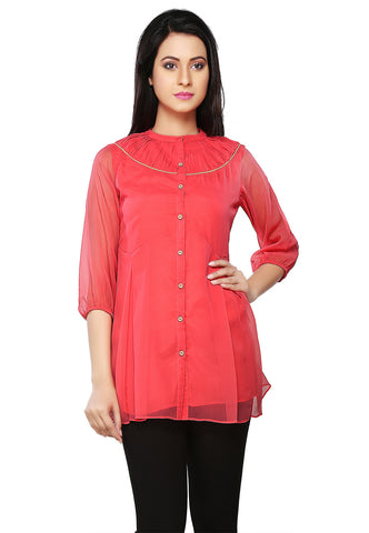 Old Rose Faux Georgette Readymade Tunic by Tadpole Store
