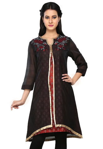 Double Layered Chanderi Silk Tunic in Black and Maroon by Tadpole Store