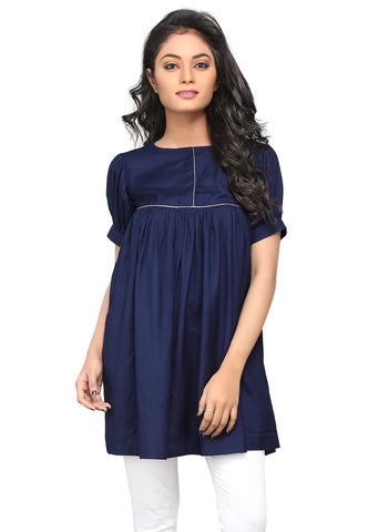 Plain Rayon Flared Tunic in Dark Blue by Tadpole Store