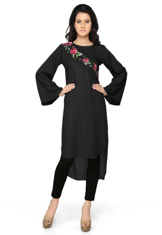 Embroidered Rayon and Georgette Tunic in Black by Tadpole Store