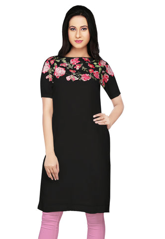 Embroidered Crepe Tunic in Black by Tadpole Store