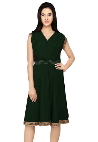 Embroidered Crepe Tunic in Forest Green by Tadpole Store