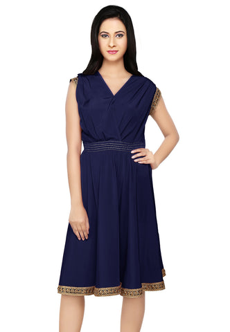 Embroidered Crepe Tunic in Navy Blue by Tadpole Store