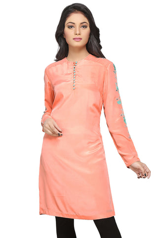 Embroidered Crepe Tunic in Peach by Tadpole Store