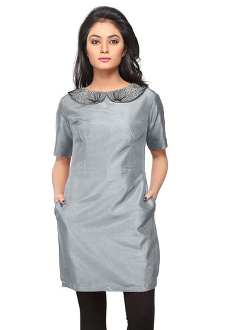 Embroidered Art Silk Tunic in Grey by Tadpole Store