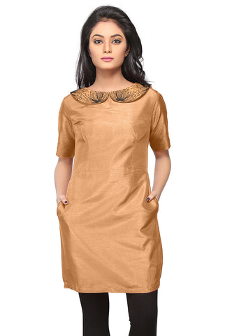 Embroidered Art Silk Tunic in Beige by Tadpole Store