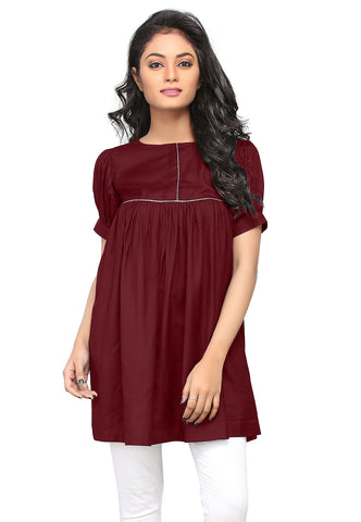 Plain Rayon Flared Tunic in Maroon by Tadpole Store