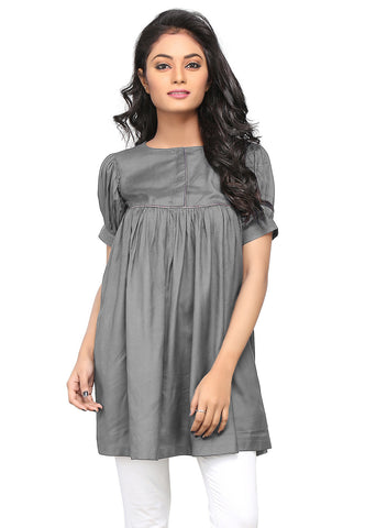 Plain Rayon Flared Tunic in Grey by Tadpole Store