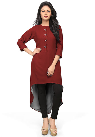 Asymmetric Georgette Tunic in Maroon by Tadpole Store