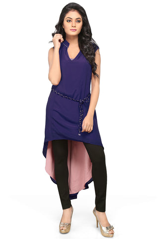 Asymmetric Crepe Tunic in Blue and Peach by Tadpole Store