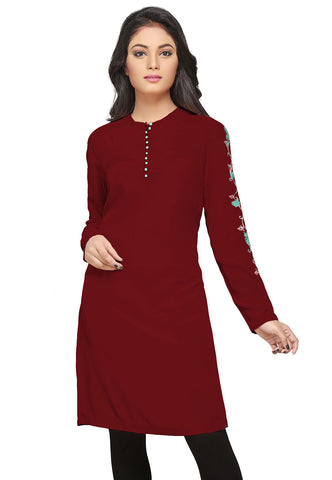 Embroidered Crepe Tunic in Maroon by Tadpole Store