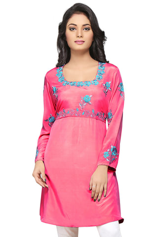 Embroidered Georgette Tunic in Pink by Tadpole Store