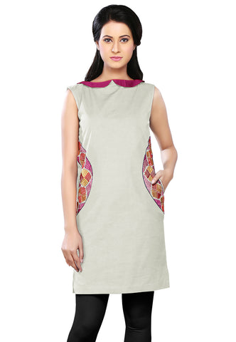 Embroidered Canvas Tunic in Off White by Tadpole Store
