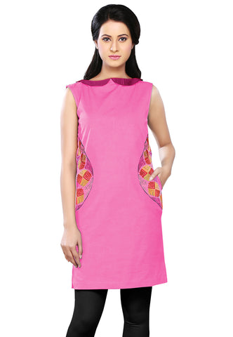 Embroidered Canvas Tunic in Pink by Tadpole Store