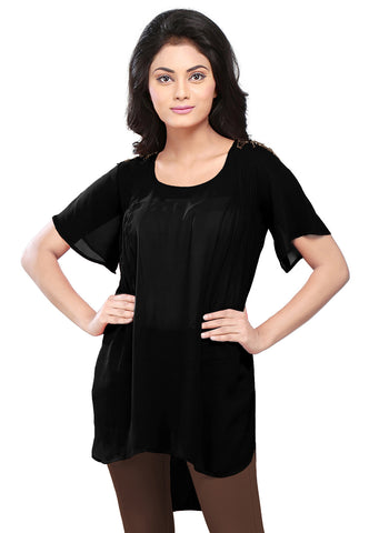 Plain Georgette High Low Tunic in Black by Tadpole Store