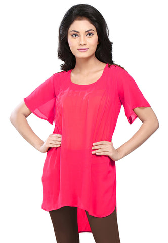 Plain Georgette High Low Tunic in Fuchsia by Tadpole Store