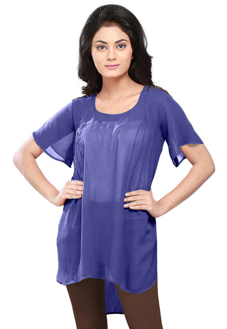 Plain Georgette High Low Tunic in Navy Blue by Tadpole Store
