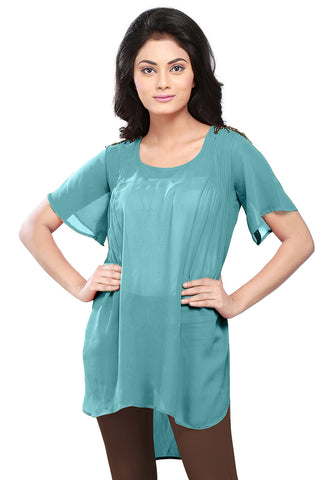 Plain Georgette High Low Tunic in Teal Blue by Tadpole Store