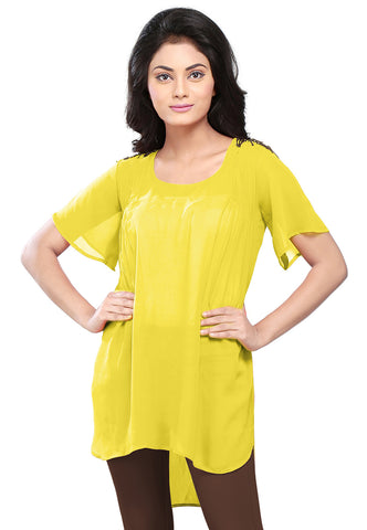 Plain Georgette High Low Tunic in Yellow by Tadpole Store