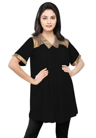 Sequined Georgette Tunic in Black by Tadpole Store