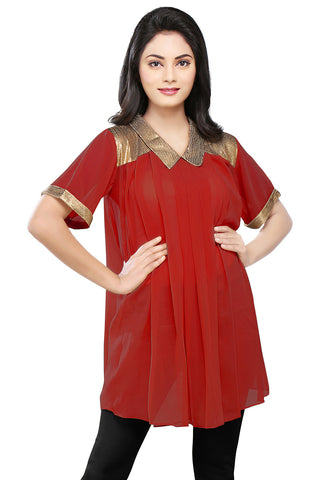 Sequined Georgette Tunic in Maroon by Tadpole Store