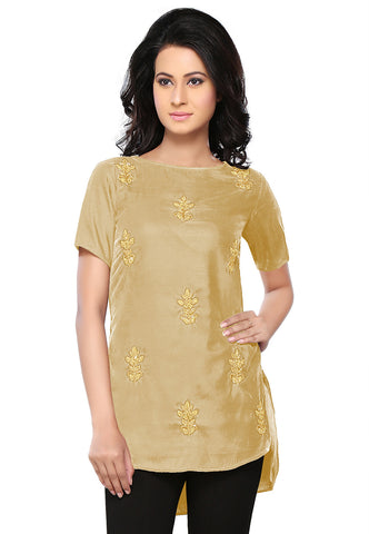 Bullion Velvet Tunic in Beige by Tadpole Store