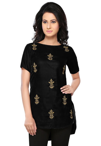 Bullion Velvet Tunic in Black by Tadpole Store