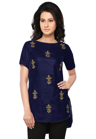 Bullion Velvet Tunic in Navy Blue by Tadpole Store