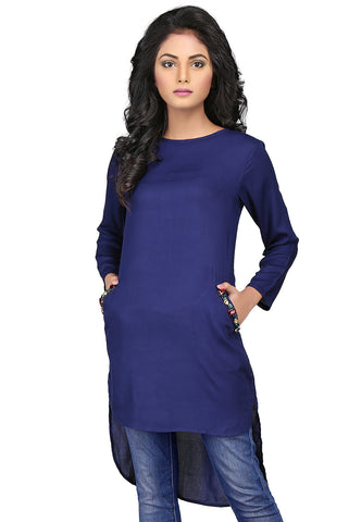 Plain Rayon High Low Tunic in Navy Blue by Tadpole Store
