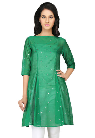 Embroidered Chanderi Silk Tunic in Green by Tadpole Store