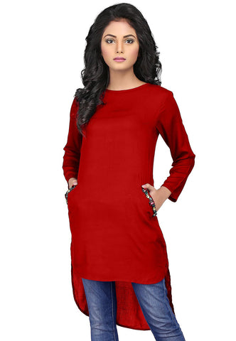 Plain Rayon Asymmetric Tunic in Deep Red by Tadpole Store