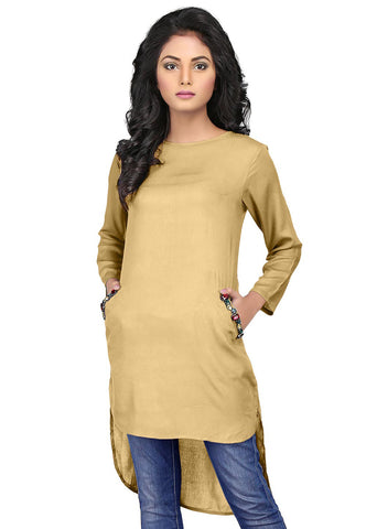 Plain Rayon Asymmetric Tunic in Beige by Tadpole Store