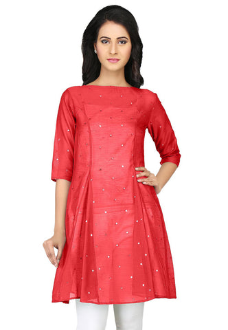 Embroidered Chanderi Tunic in Red by Tadpole Store