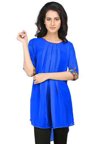 Embroidered Georgette High Low Tunic in Royal Blue by Tadpole Store