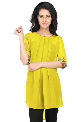 Embroidered Georgette High Low Tunic in Yellow by Tadpole Store