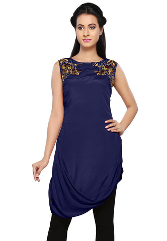 Embroidered Faux Crepe Tunic in Blue by Tadpole Store