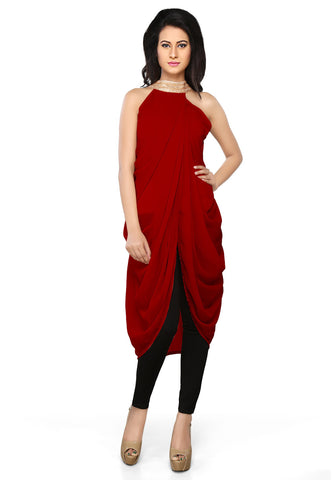 Faux Georgette Tunic in Dark Red by Tadpole Store