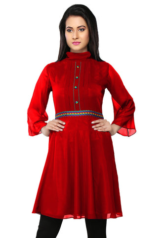 Embroidered Faux Georgette Tunic in Red by Tadpole Store