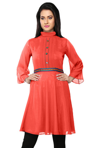 Embroidered Faux Georgette Tunic in Peach by Tadpole Store