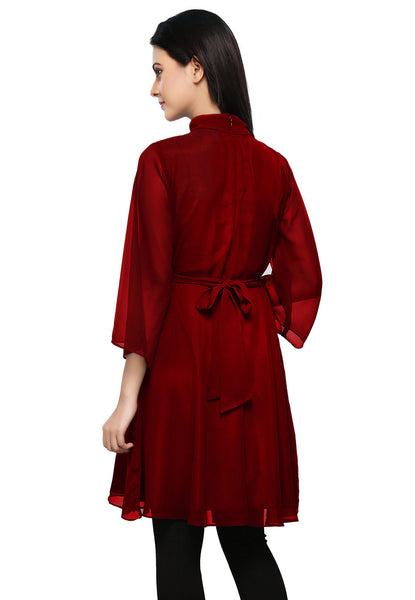 Embroidered Faux Georgette Tunic in Maroon