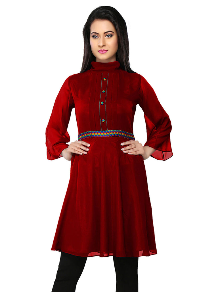 Embroidered Faux Georgette Tunic in Maroon by Tadpole Store