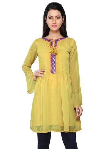 Embroidered Faux Georgette Tunic in Yellow by Tadpole Store