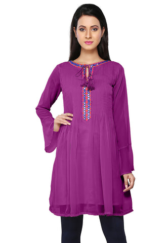 Embroidered Faux Georgette Tunic in Purple by Tadpole Store