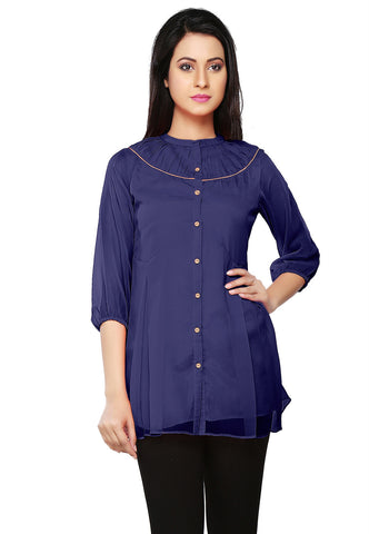 Faux Georgette Tunic in Blue by Tadpole Store