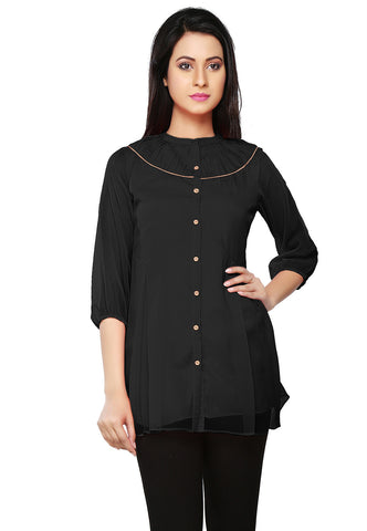 Faux Georgette Tunic in Black by Tadpole Store