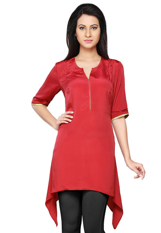 Faux Crepe Asymmetric Tunic in Red by Tadpole Store